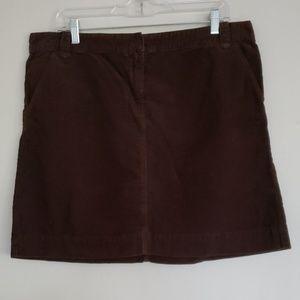 J CREW NWT pockets chocolate corduroy skirt